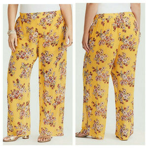 Torrid Wide Leg Pants Yellow Floral 1X